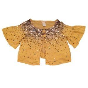 LaROK Metallic Sequin Yellow Cardigan Sweater